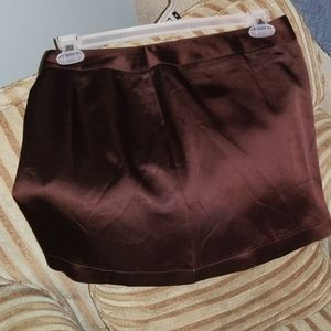 BCBG Brown Silk-like Mini Skirt